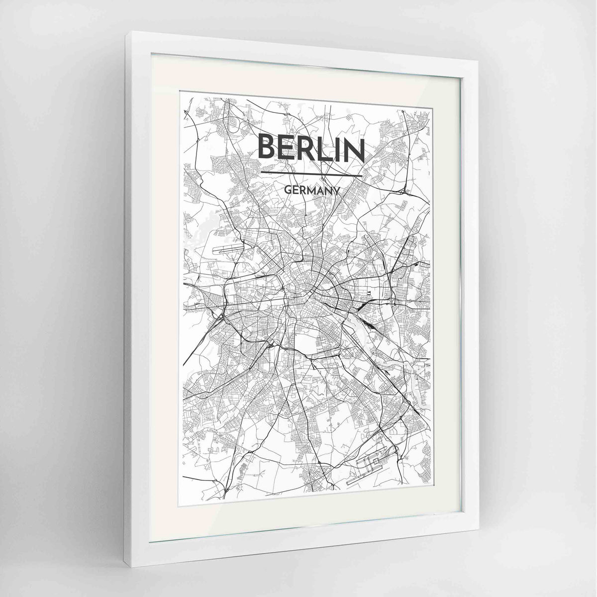 "Framed Berlin Map Art Print 24x36"" Contemporary White frame Point Two Design Group"