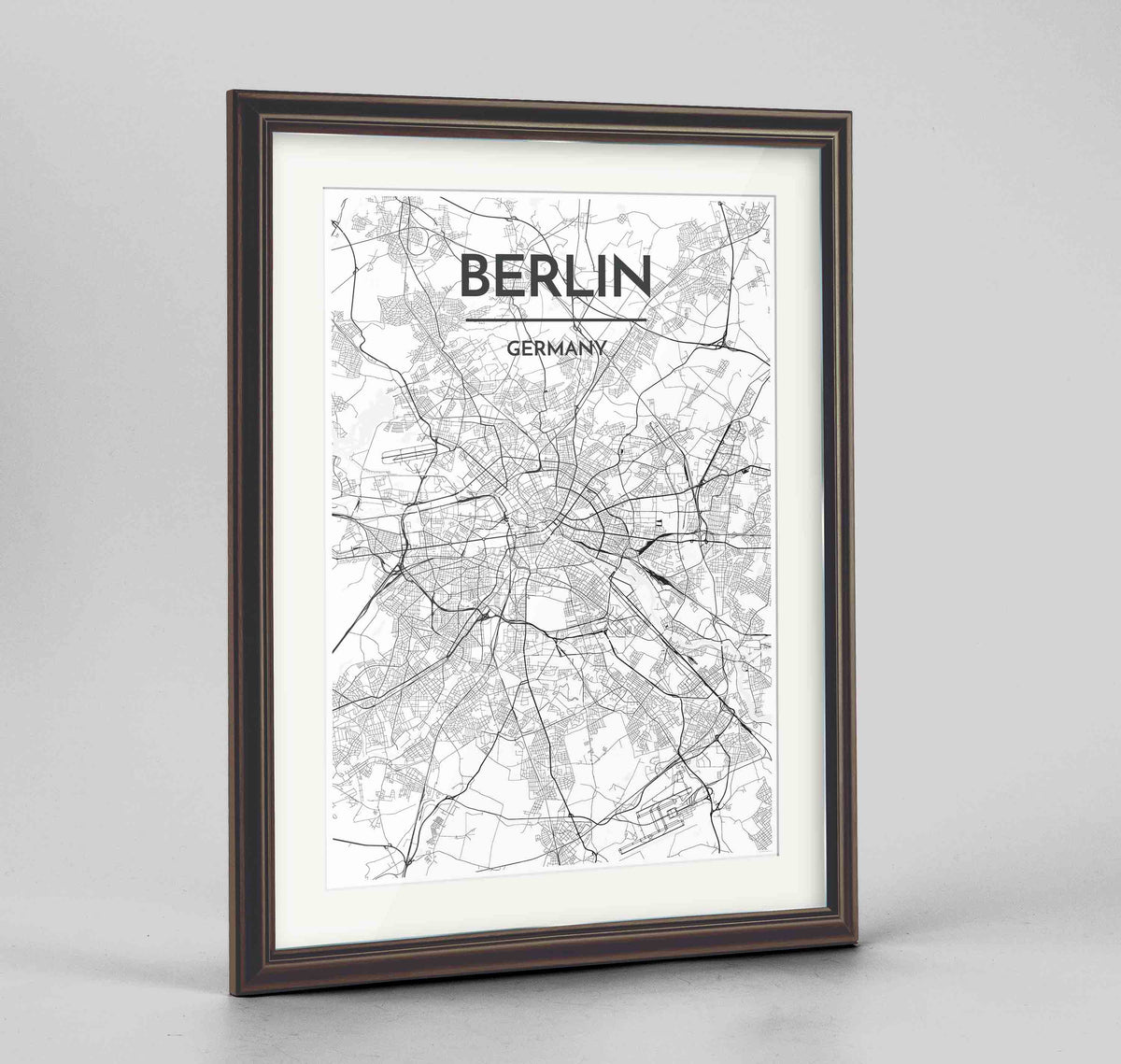 "Framed Berlin Map Art Print 24x36"" Traditional Walnut frame Point Two Design Group"