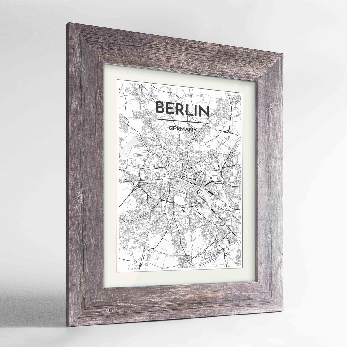 "Framed Berlin Map Art Print 24x36"" Western Grey frame Point Two Design Group"