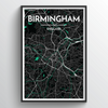 Birminghan Map Art Print - Point Two Design