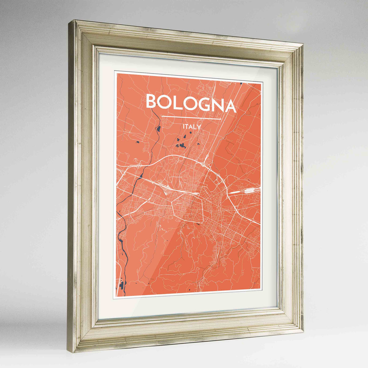 "Framed Bologna City Map 24x36"" Champagne frame Point Two Design Group"
