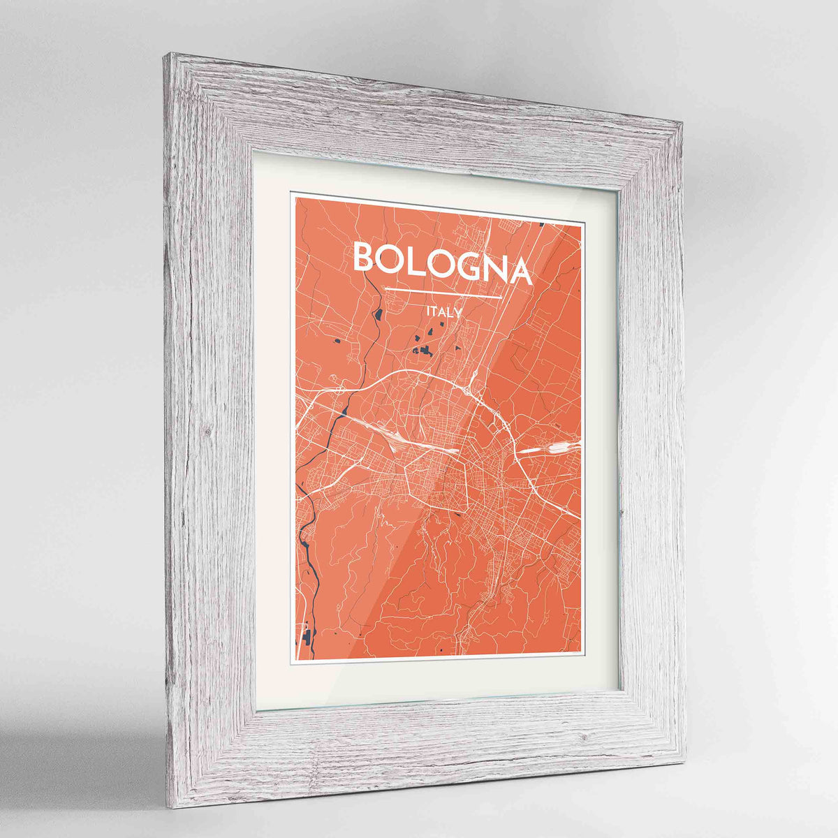 "Framed Bologna City Map 24x36"" Western White frame Point Two Design Group"