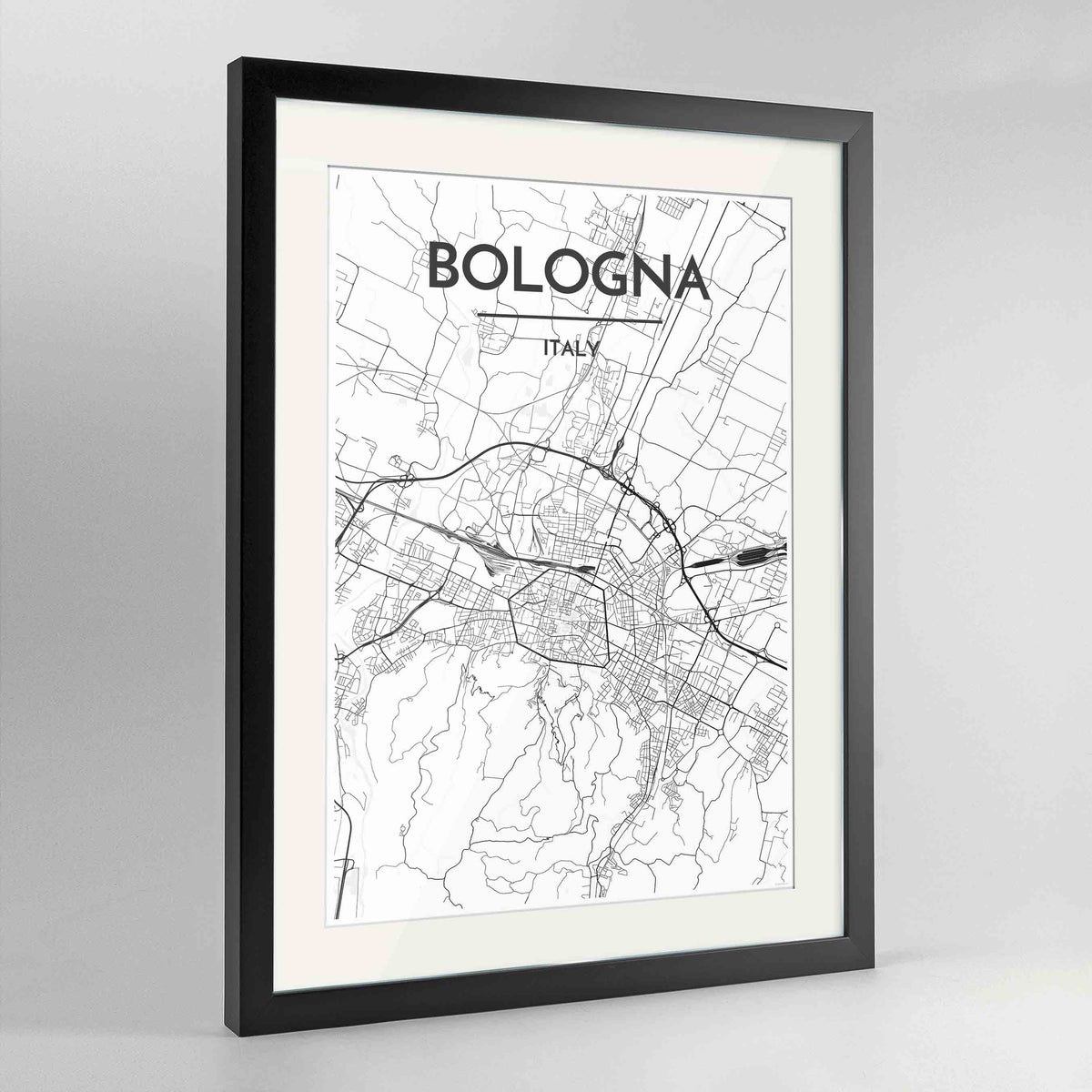 "Framed Bologna City Map 24x36"" Contemporary Black frame Point Two Design Group"