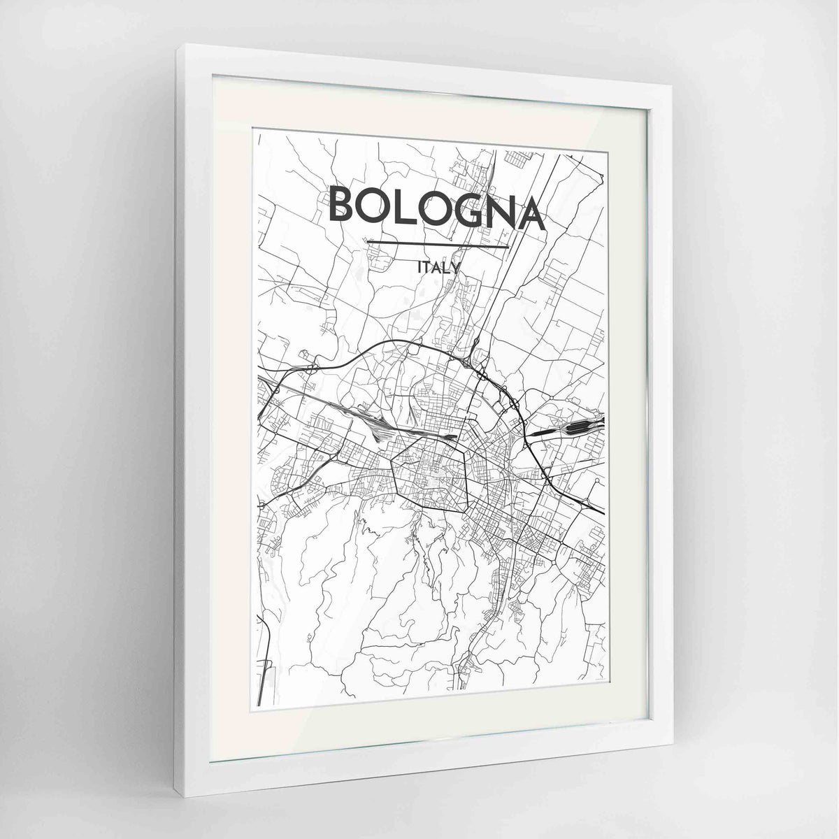 "Framed Bologna City Map 24x36"" Contemporary White frame Point Two Design Group"