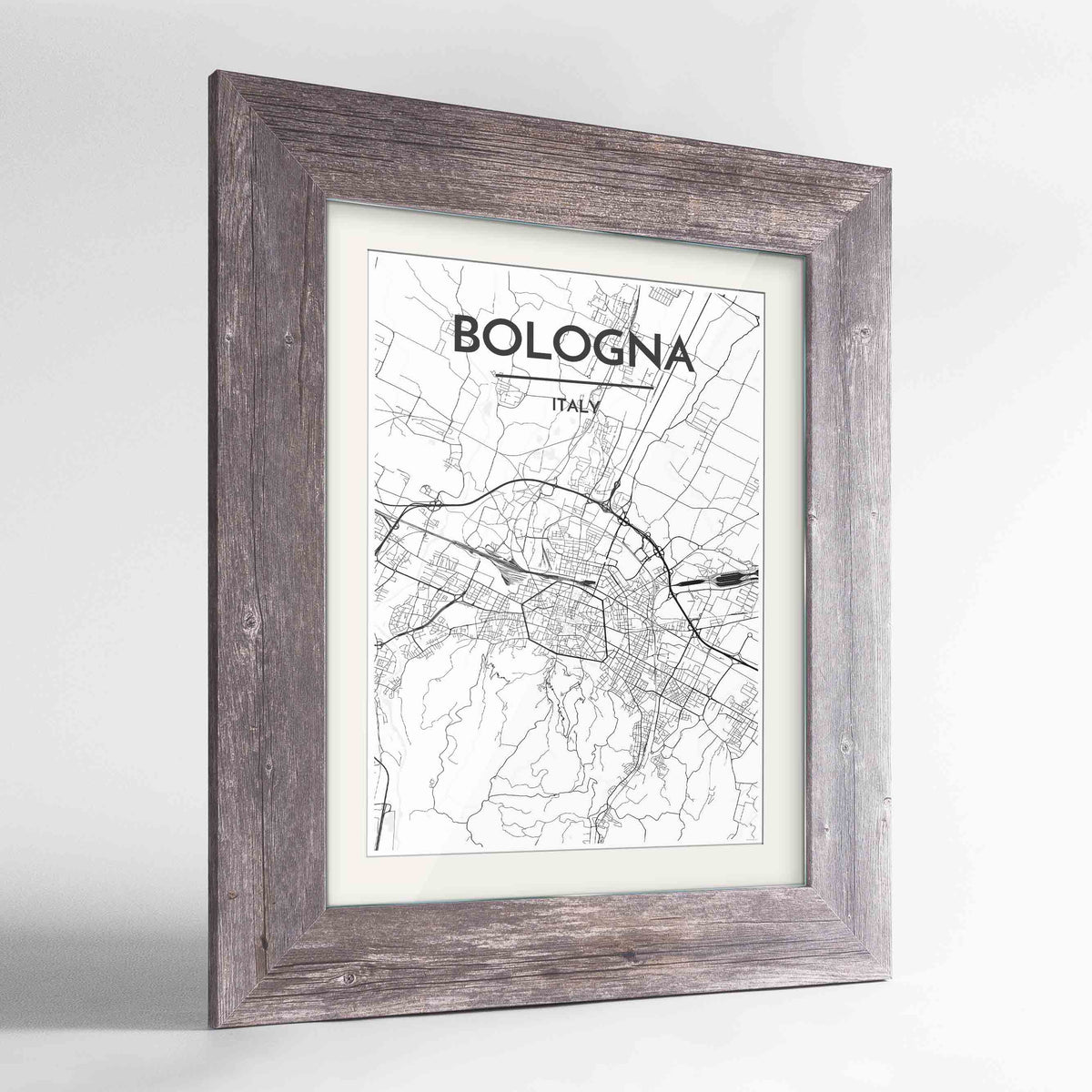 "Framed Bologna City Map 24x36"" Western Grey frame Point Two Design Group"