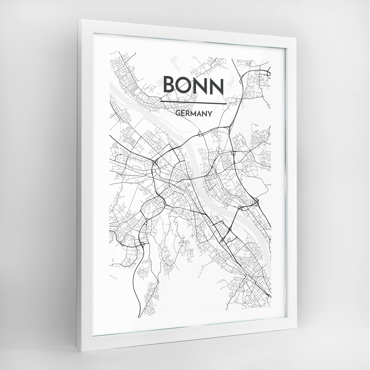 Bonn Map Art Print - Framed
