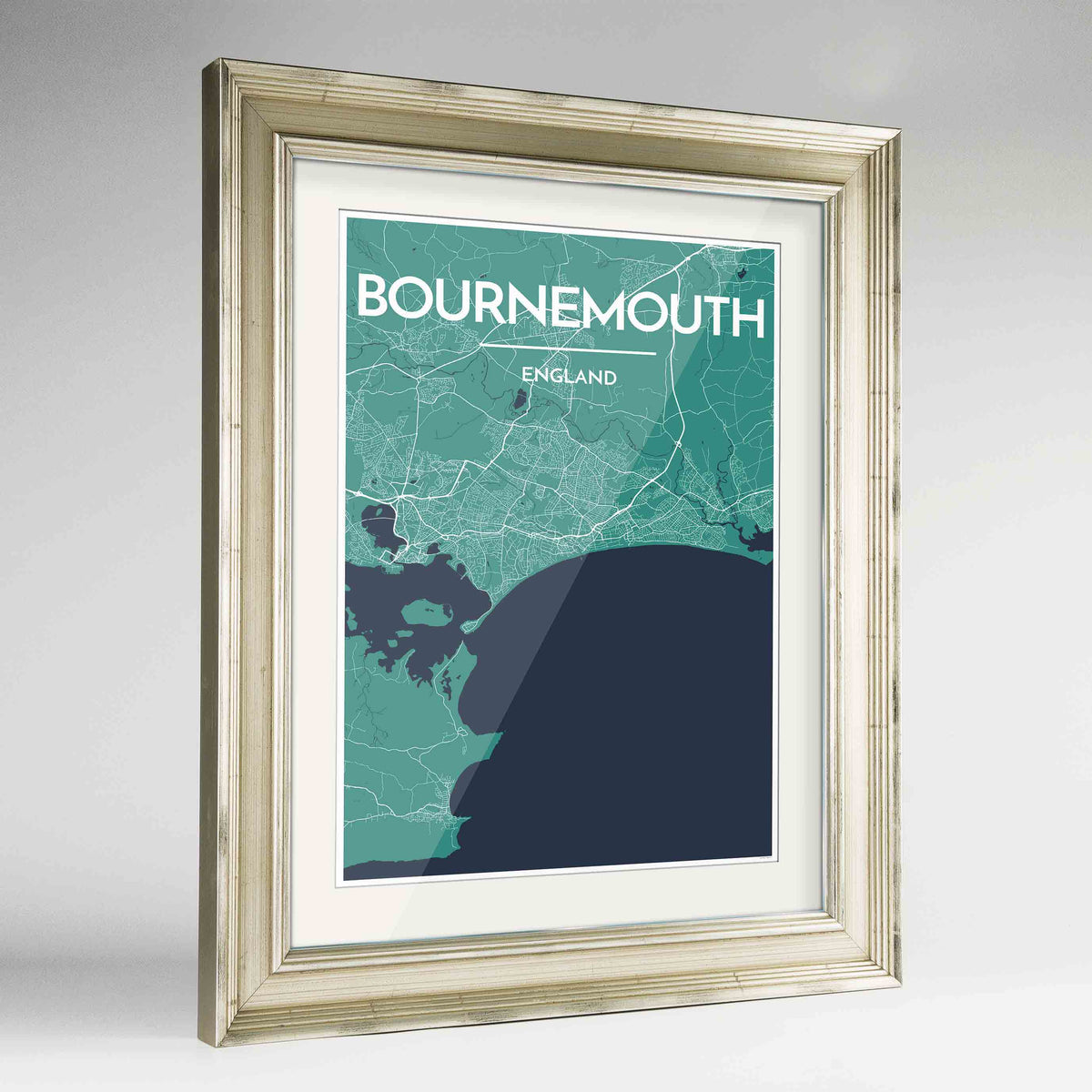 "Framed Bournemouth Map Art Print 24x36"" Champagne frame Point Two Design Group"