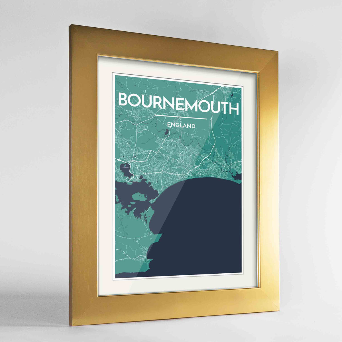 "Framed Bournemouth Map Art Print 24x36"" Gold frame Point Two Design Group"