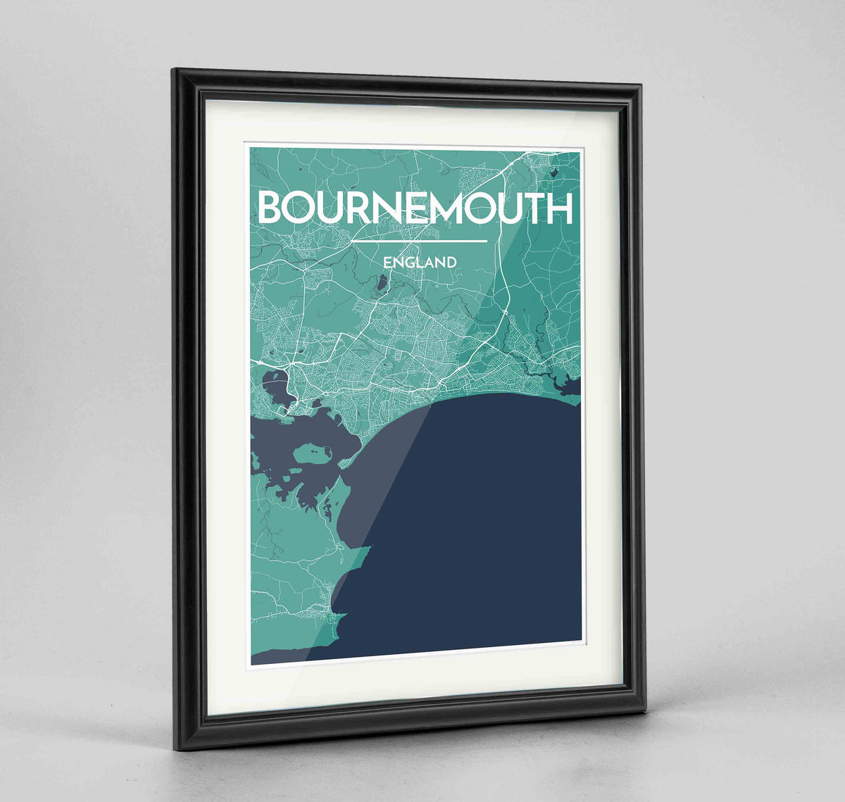 "Framed Bournemouth Map Art Print 24x36"" Traditional Black frame Point Two Design Group"