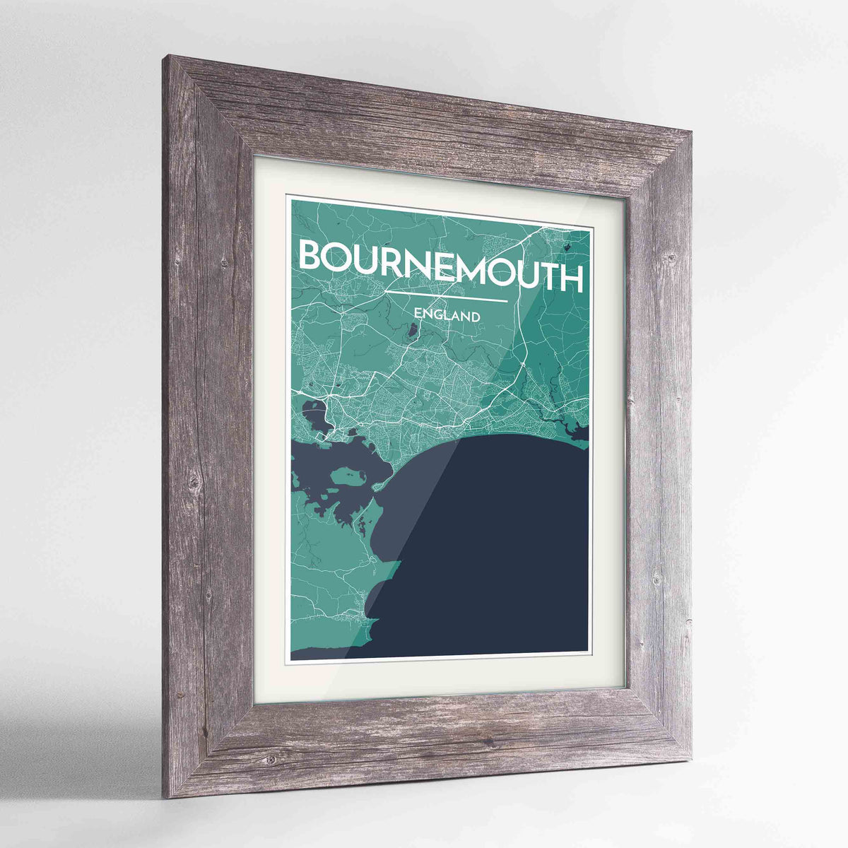 "Framed Bournemouth Map Art Print 24x36"" Western Grey frame Point Two Design Group"