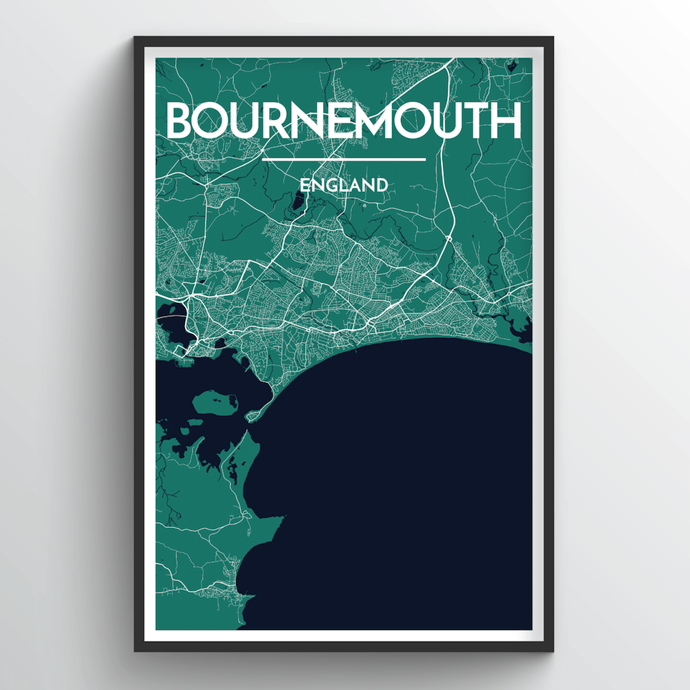 Bournemouth Map Art Print - Point Two Design