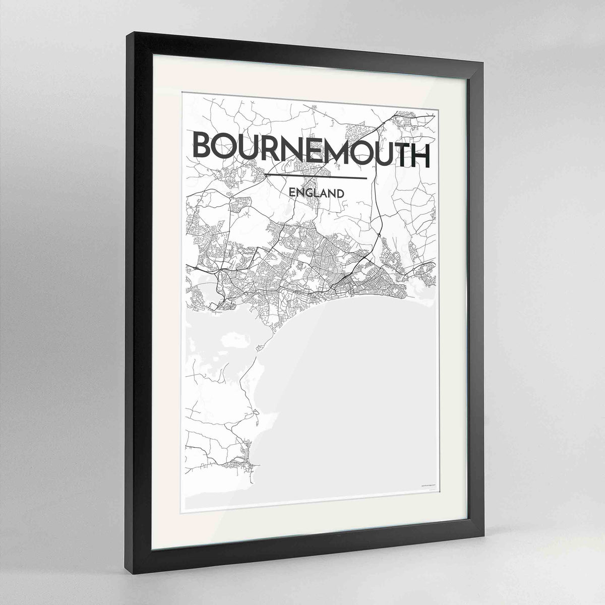 "Framed Bournemouth Map Art Print 24x36"" Contemporary Black frame Point Two Design Group"