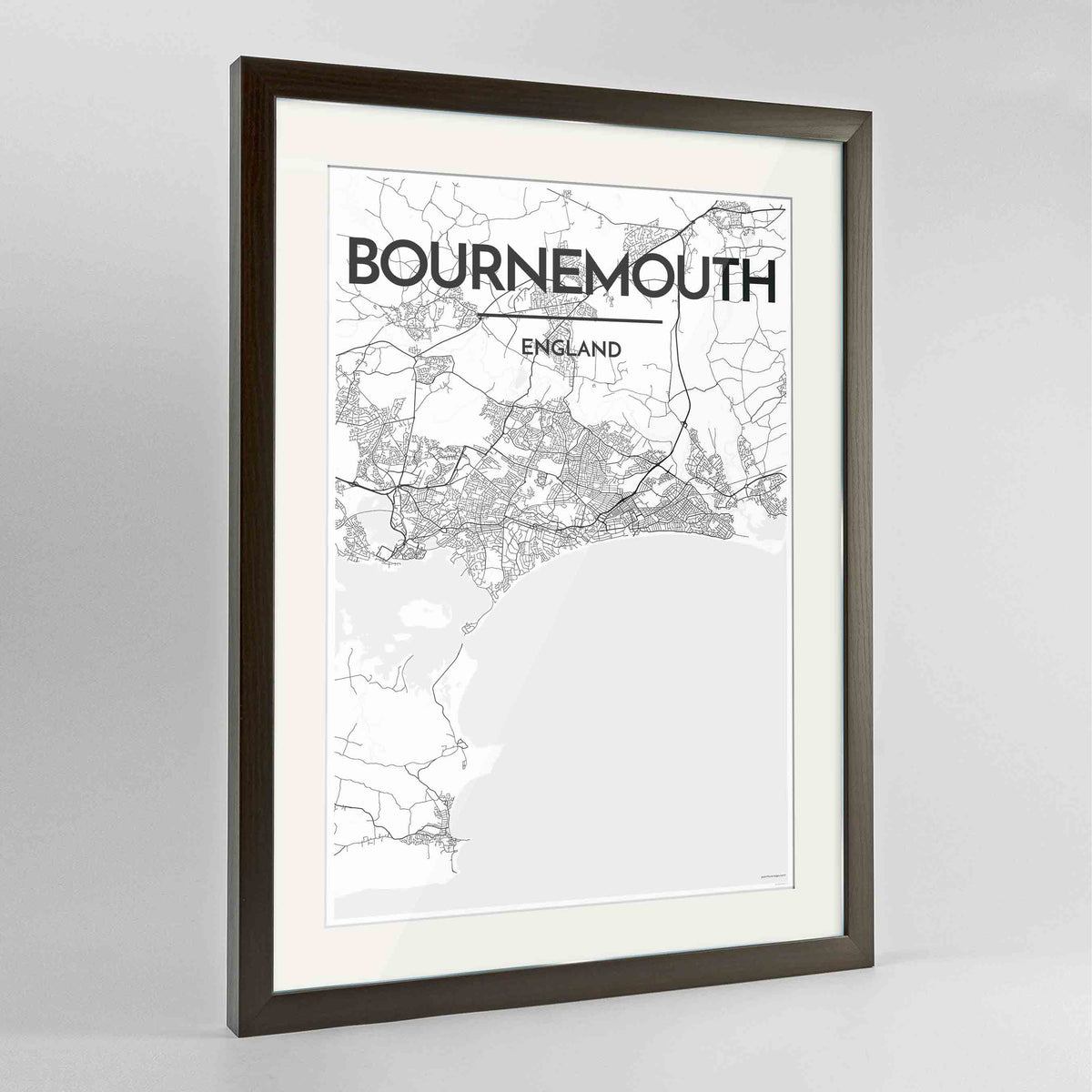 "Framed Bournemouth Map Art Print 24x36"" Contemporary Walnut frame Point Two Design Group"