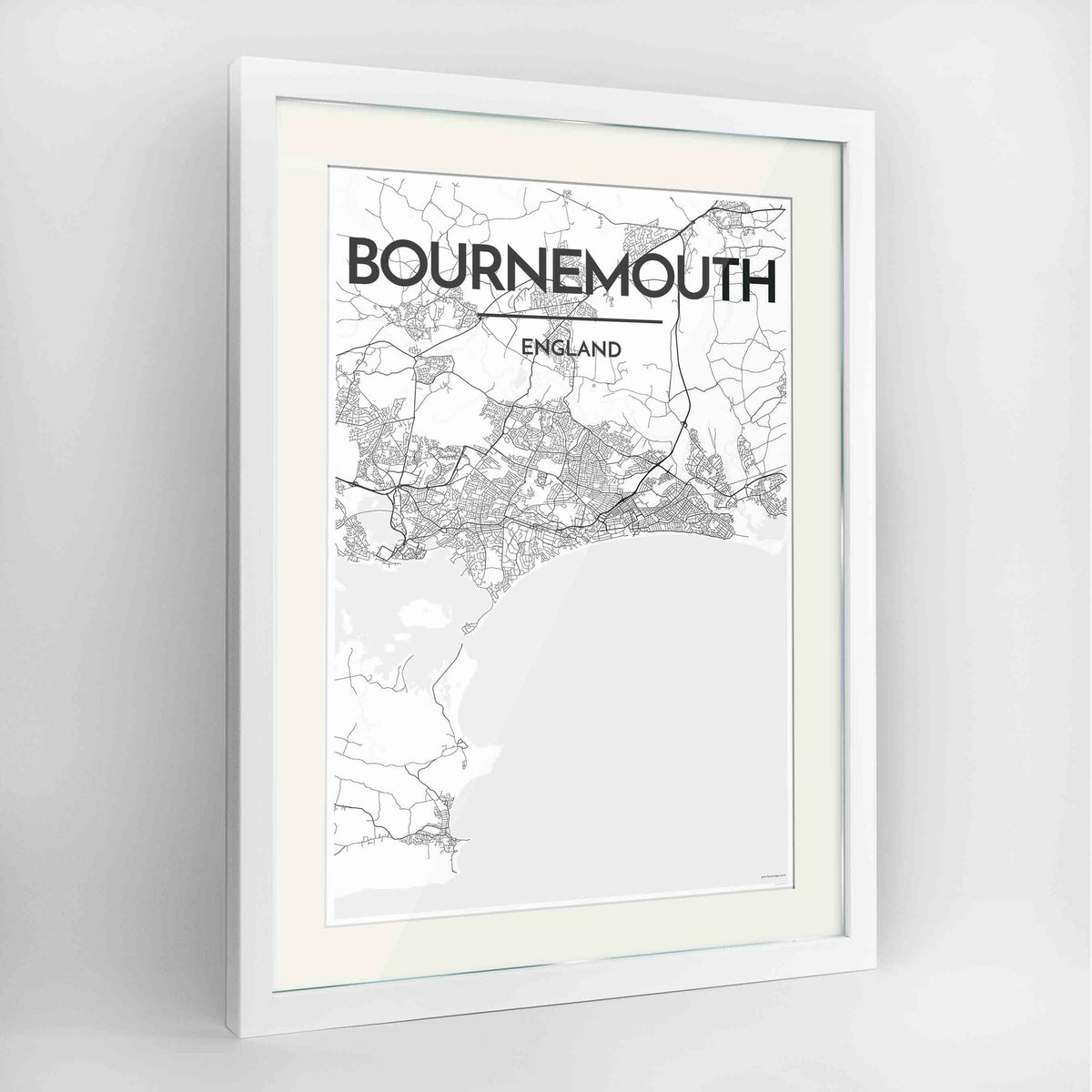 "Framed Bournemouth Map Art Print 24x36"" Contemporary White frame Point Two Design Group"