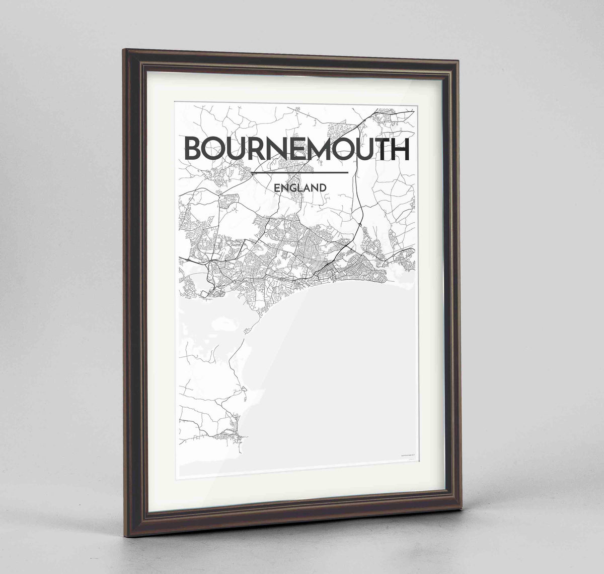 "Framed Bournemouth Map Art Print 24x36"" Traditional Walnut frame Point Two Design Group"