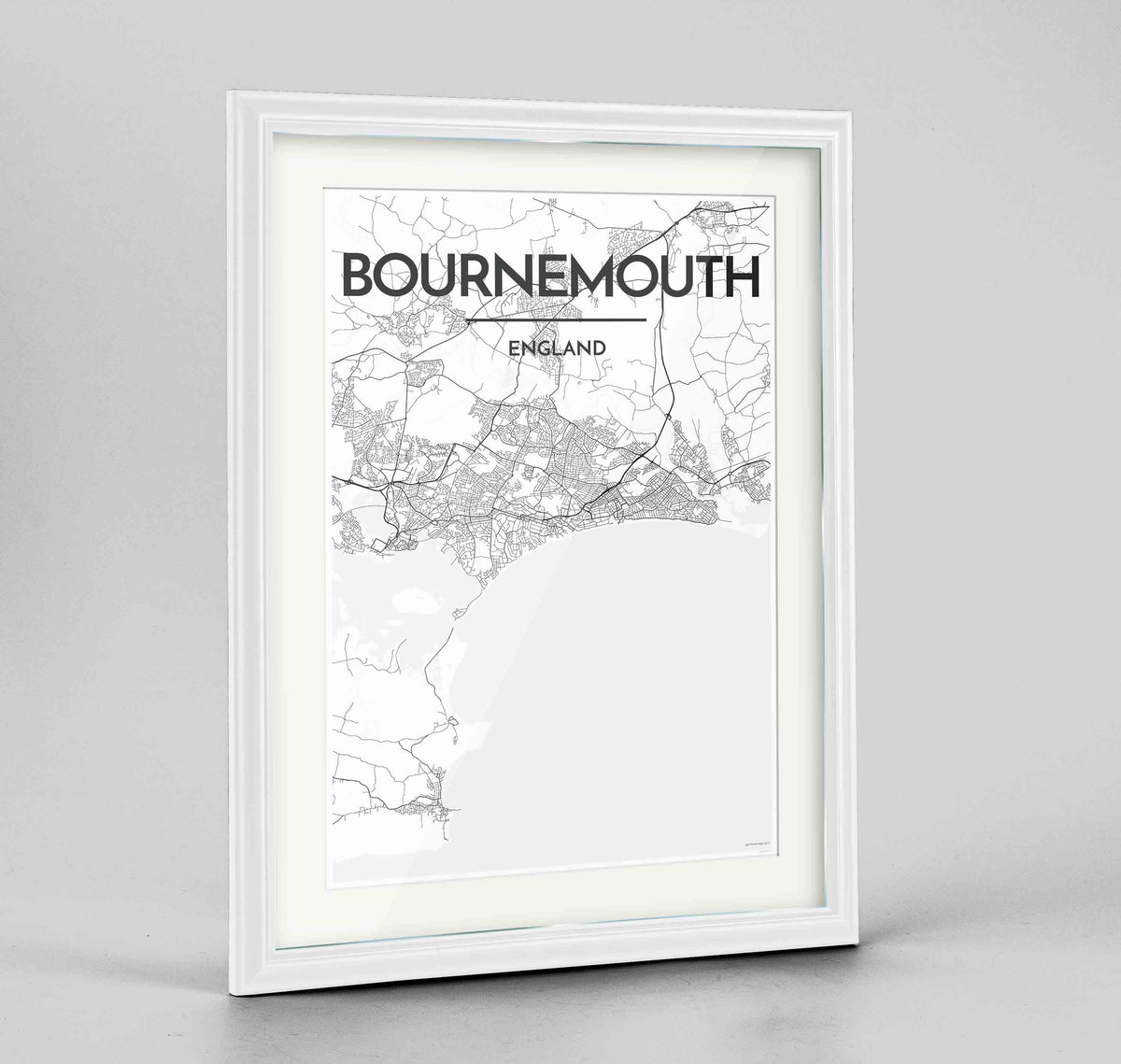 "Framed Bournemouth Map Art Print 24x36"" Traditional White frame Point Two Design Group"