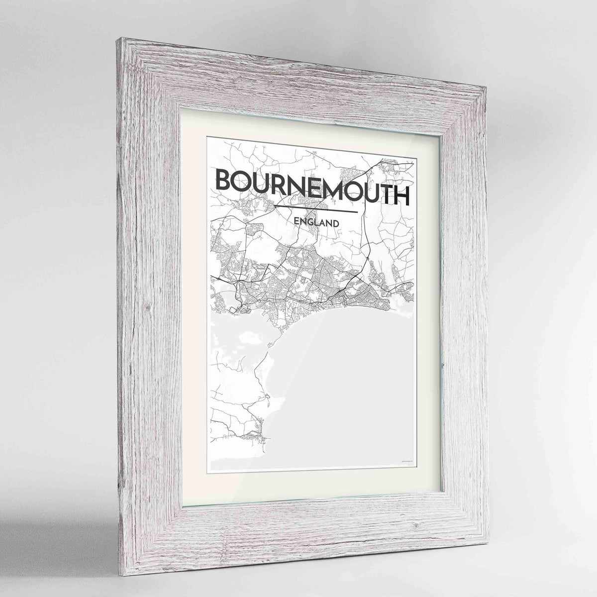 "Framed Bournemouth Map Art Print 24x36"" Western White frame Point Two Design Group"