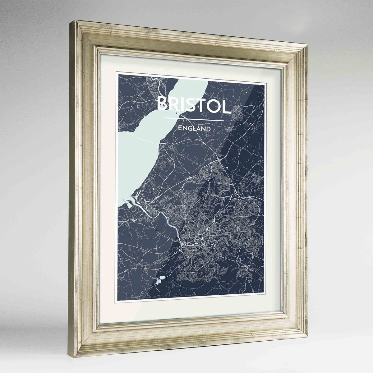 "Framed Bristol Map Art Print 24x36"" Champagne frame Point Two Design Group"