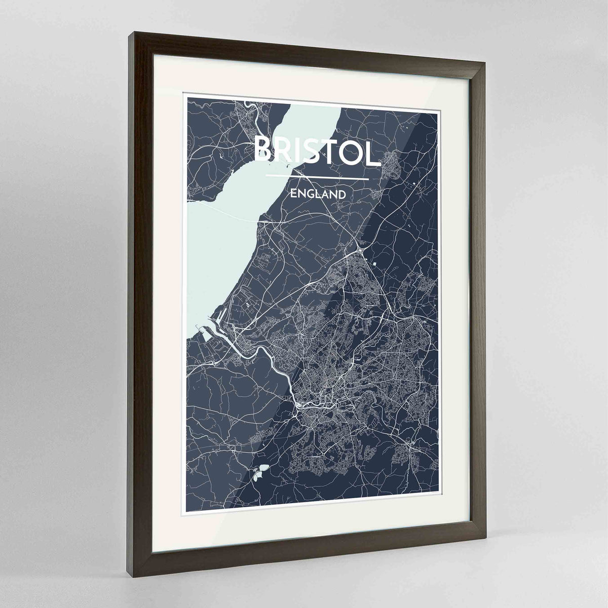"Framed Bristol Map Art Print 24x36"" Contemporary Walnut frame Point Two Design Group"