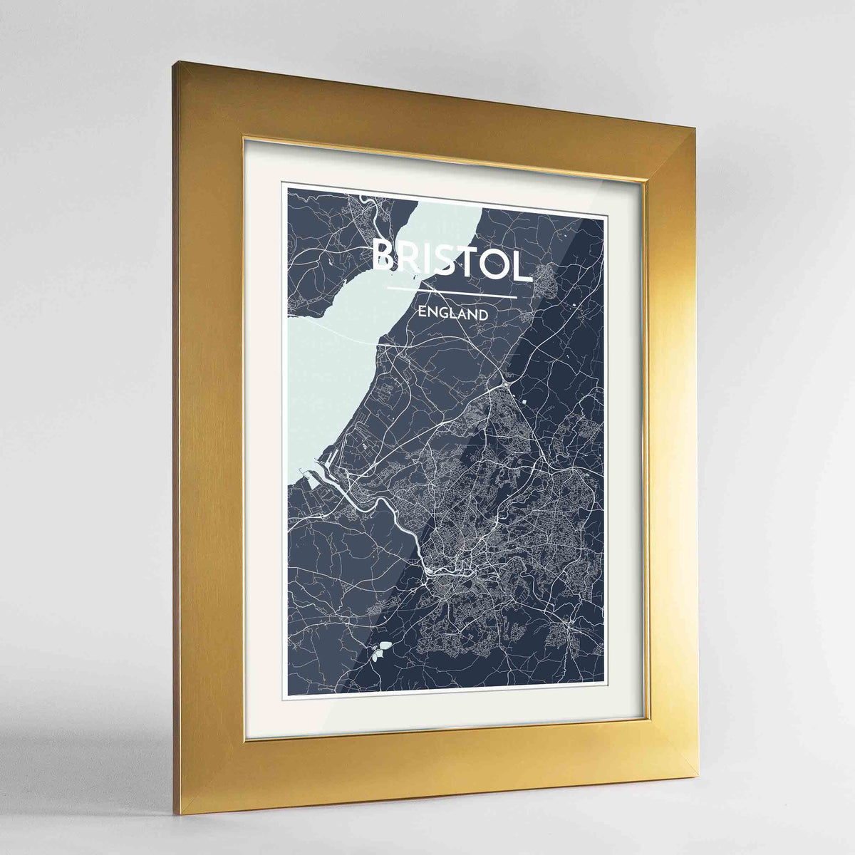 "Framed Bristol Map Art Print 24x36"" Gold frame Point Two Design Group"