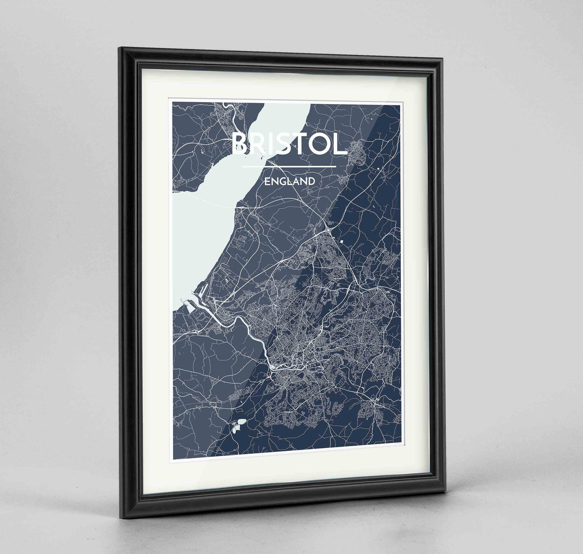 "Framed Bristol Map Art Print 24x36"" Traditional Black frame Point Two Design Group"