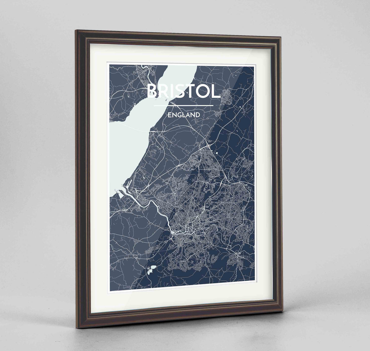 "Framed Bristol Map Art Print 24x36"" Traditional Walnut frame Point Two Design Group"