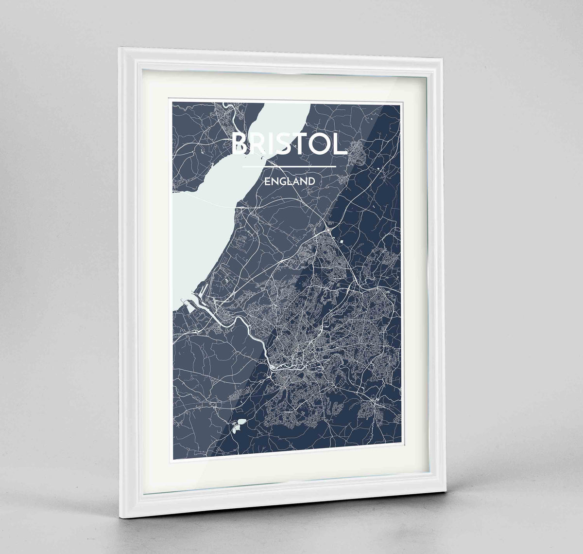 "Framed Bristol Map Art Print 24x36"" Traditional White frame Point Two Design Group"