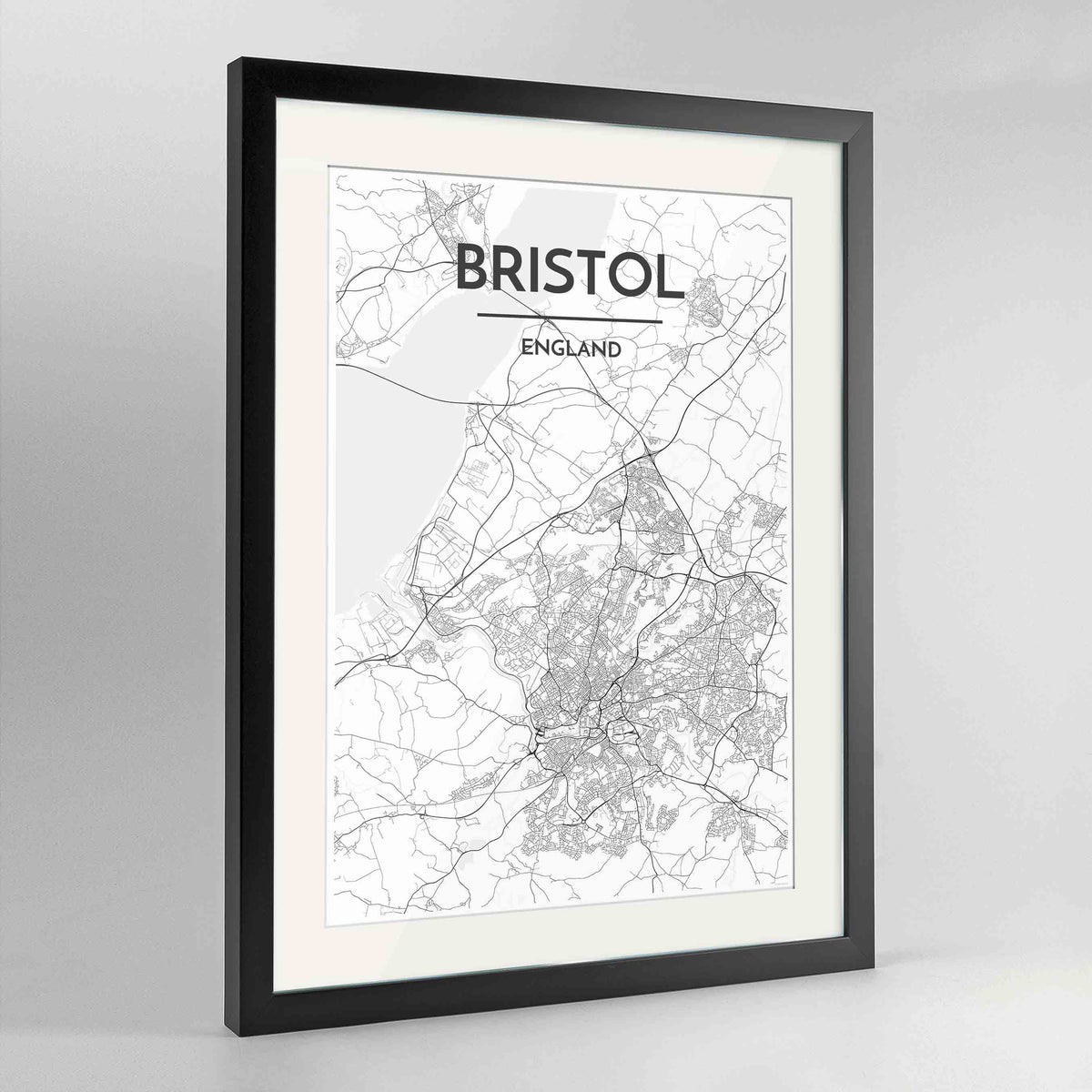 "Framed Bristol Map Art Print 24x36"" Contemporary Black frame Point Two Design Group"