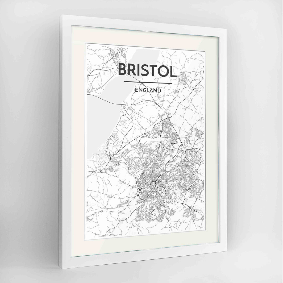 "Framed Bristol Map Art Print 24x36"" Contemporary White frame Point Two Design Group"
