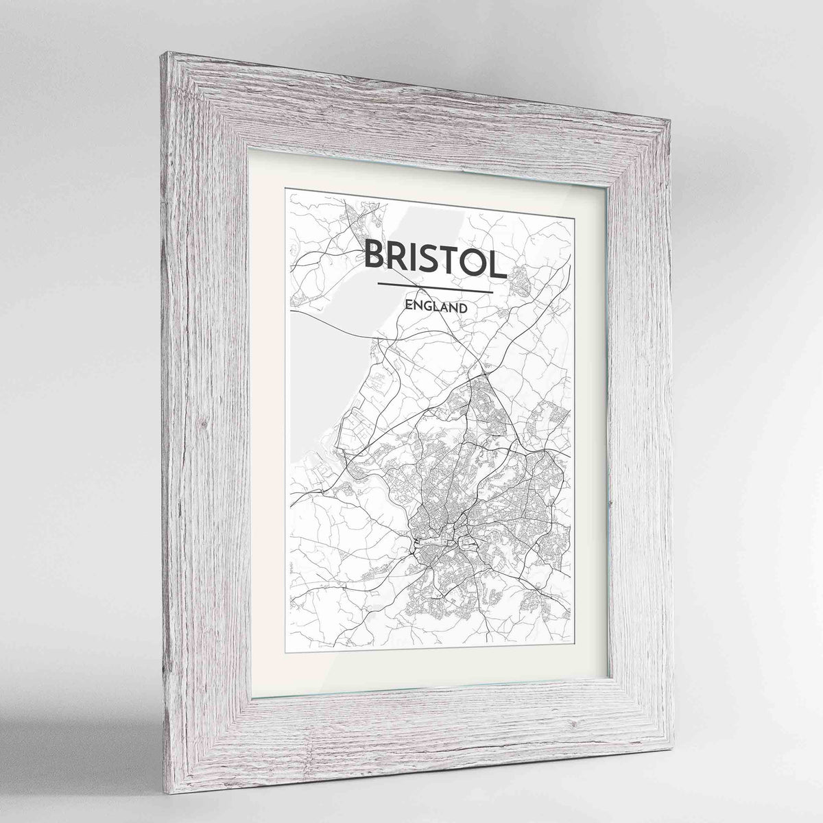 "Framed Bristol Map Art Print 24x36"" Western White frame Point Two Design Group"