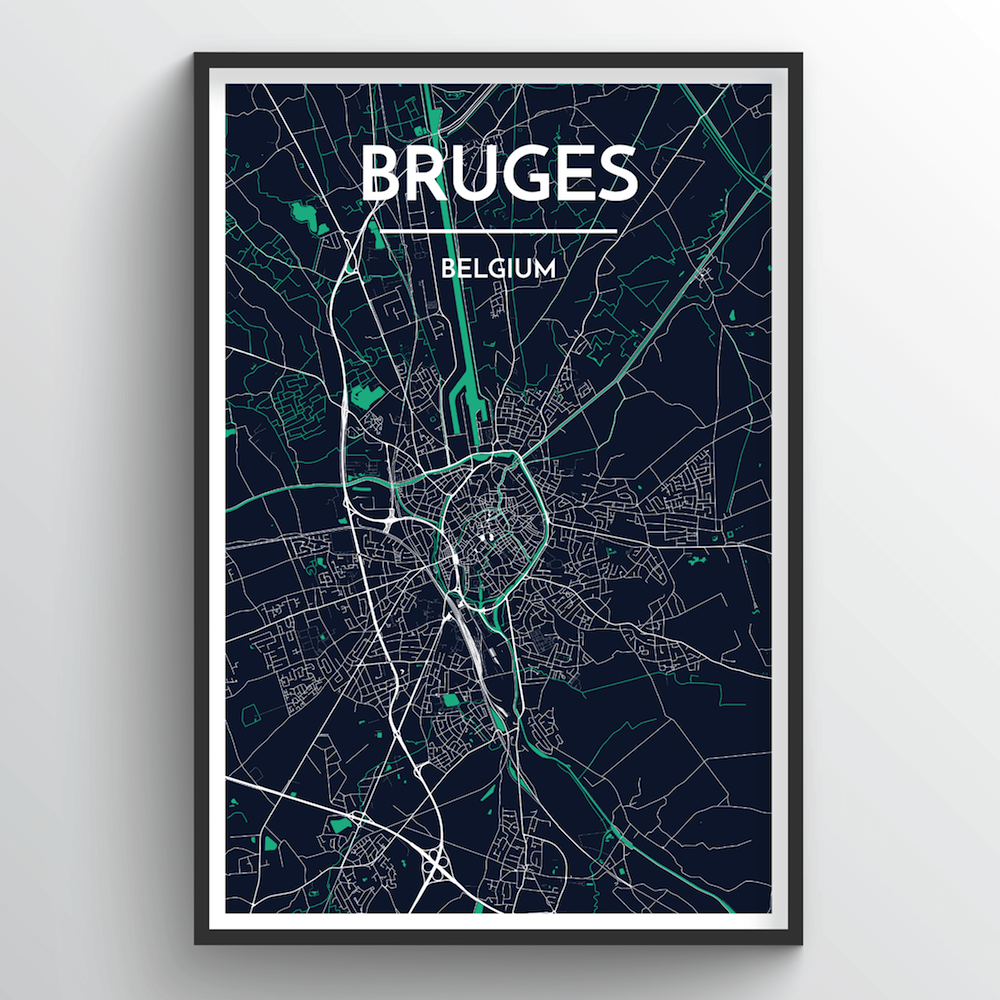 Bruges Map Art Print - Point Two Design
