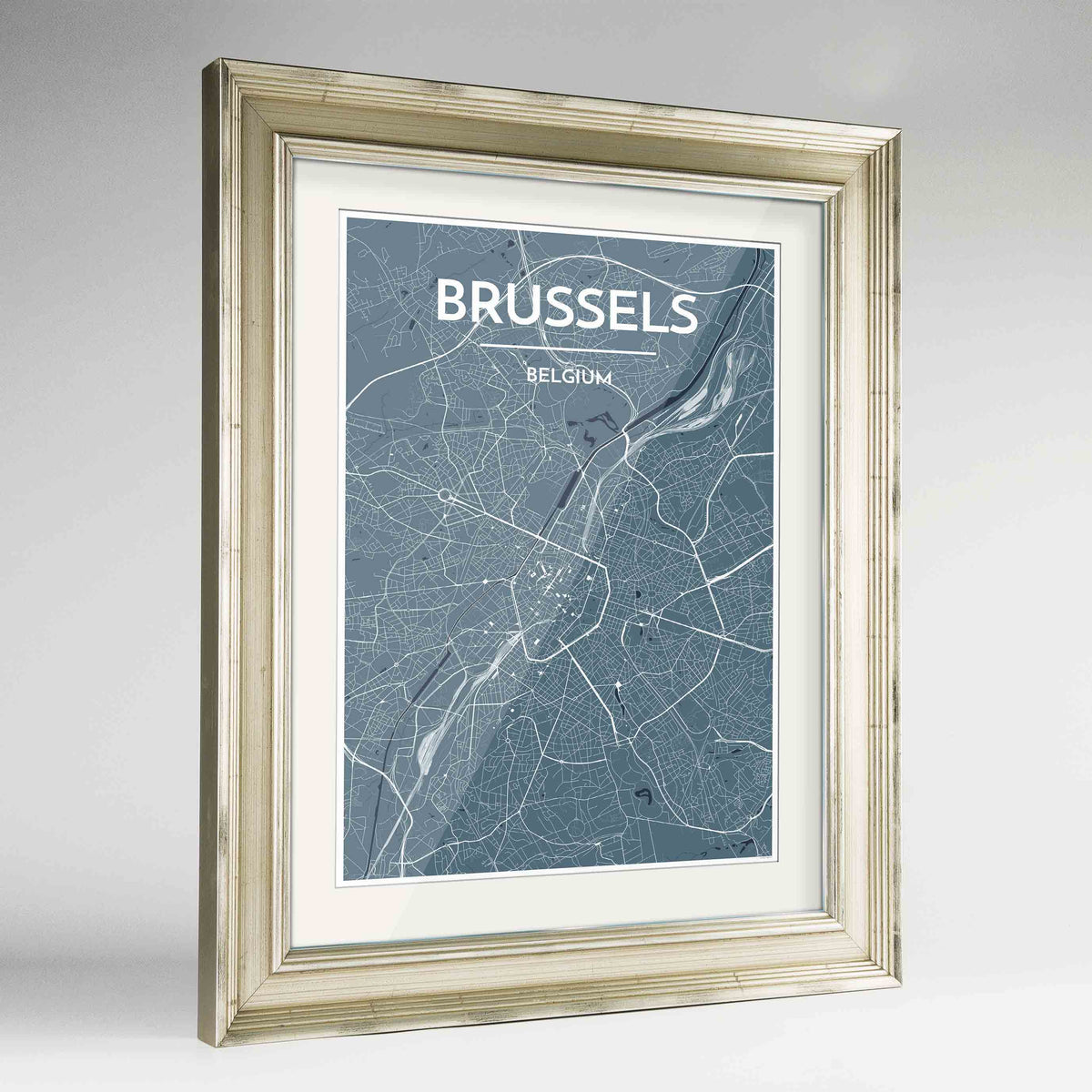"Framed Brussels Map Art Print 24x36"" Champagne frame Point Two Design Group"