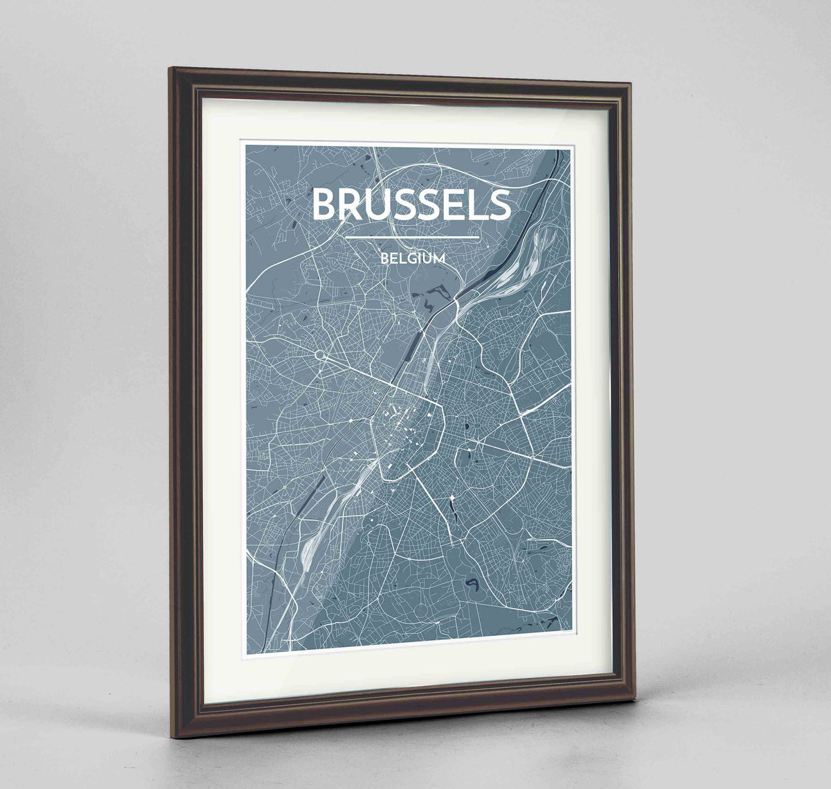 "Framed Brussels Map Art Print 24x36"" Traditional Walnut frame Point Two Design Group"