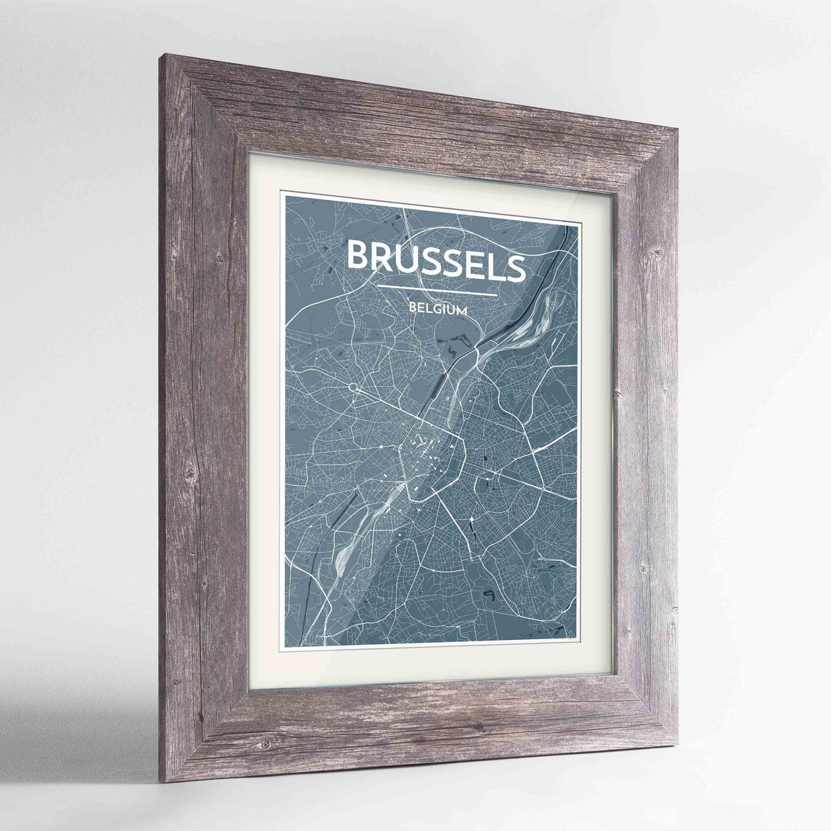 "Framed Brussels Map Art Print 24x36"" Western Grey frame Point Two Design Group"
