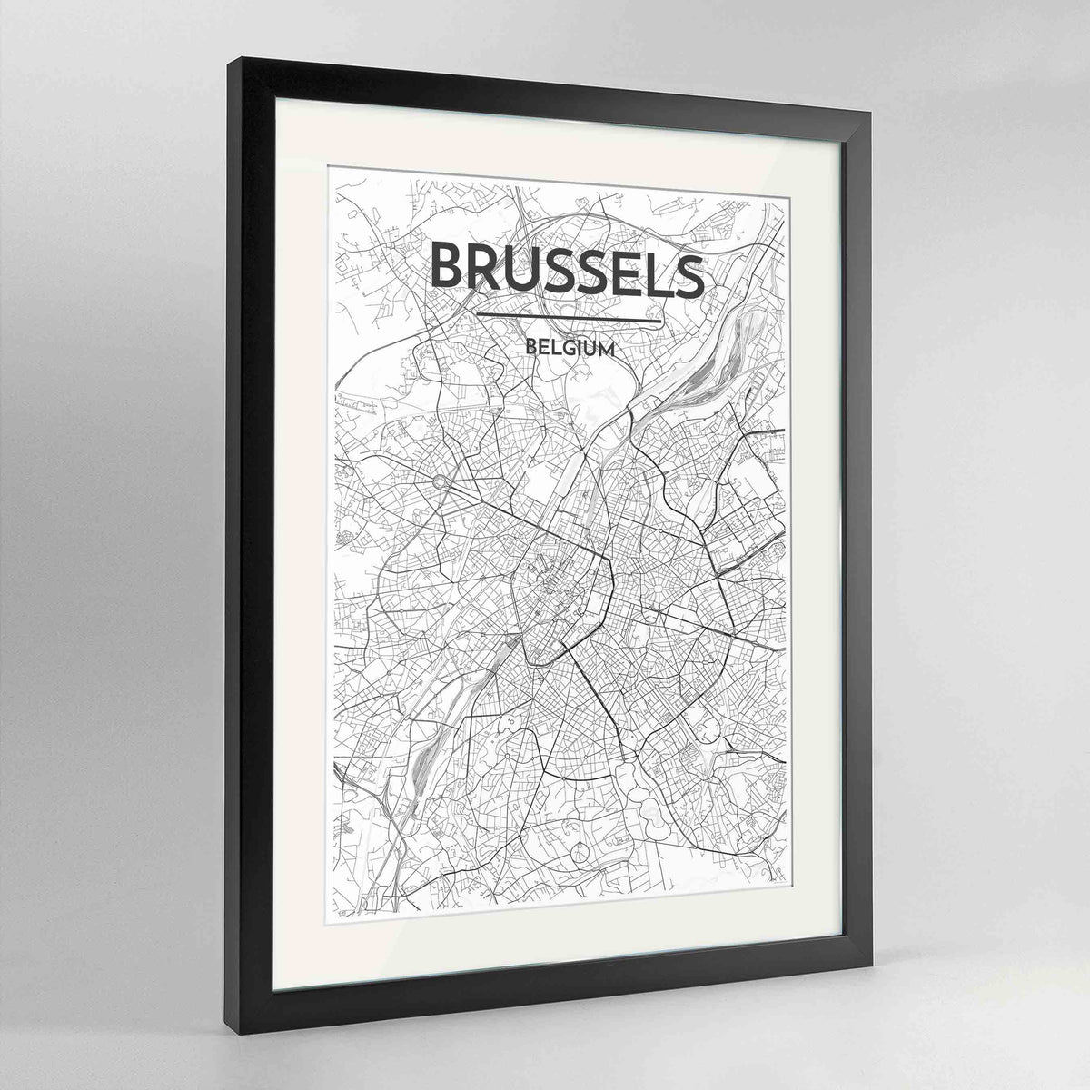"Framed Brussels Map Art Print 24x36"" Contemporary Black frame Point Two Design Group"