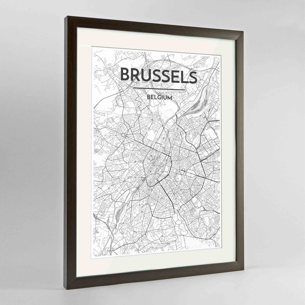 "Framed Brussels Map Art Print 24x36"" Contemporary Walnut frame Point Two Design Group"