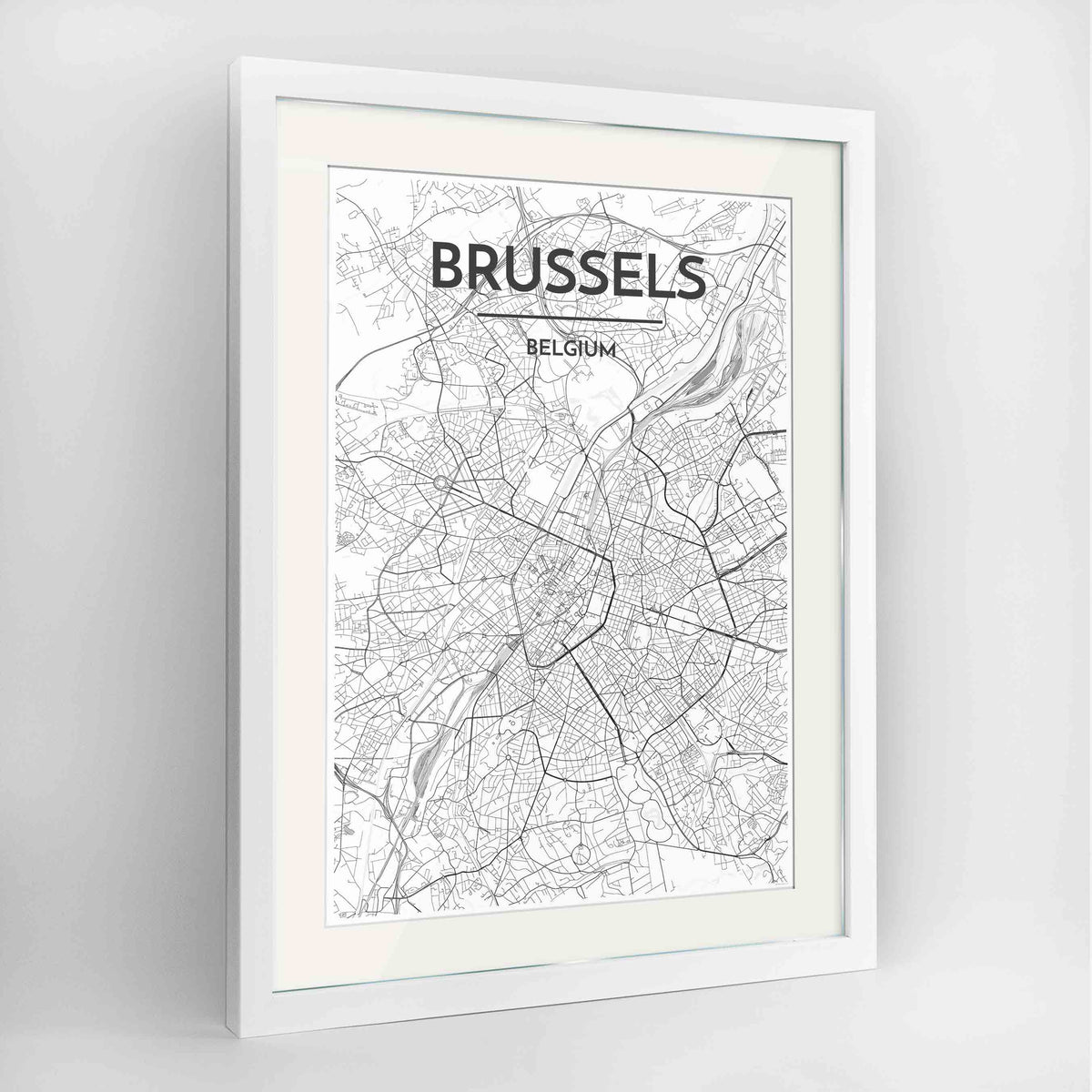 "Framed Brussels Map Art Print 24x36"" Contemporary White frame Point Two Design Group"