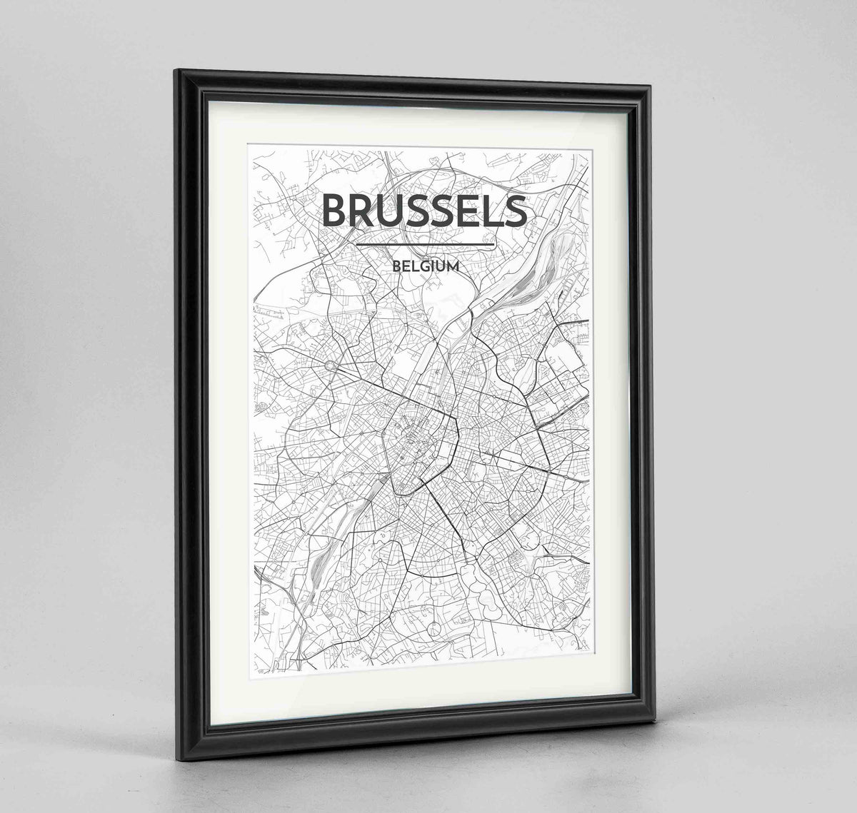 "Framed Brussels Map Art Print 24x36"" Traditional Black frame Point Two Design Group"