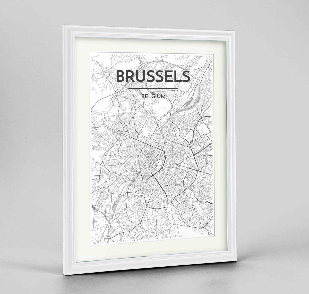 "Framed Brussels Map Art Print 24x36"" Traditional White frame Point Two Design Group"
