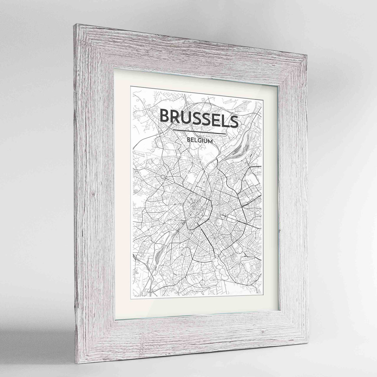 "Framed Brussels Map Art Print 24x36"" Western White frame Point Two Design Group"
