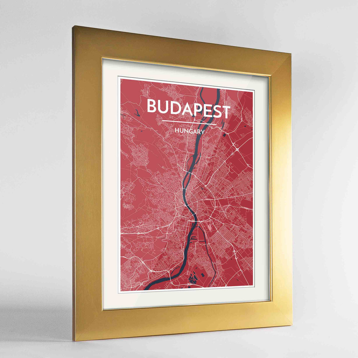 "Framed Budapest Map Art Print 24x36"" Gold frame Point Two Design Group"