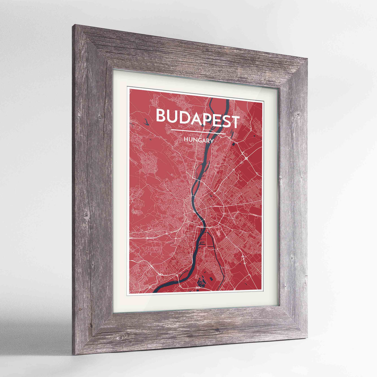"Framed Budapest Map Art Print 24x36"" Western Grey frame Point Two Design Group"