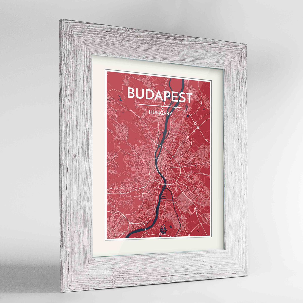 "Framed Budapest Map Art Print 24x36"" Western White frame Point Two Design Group"