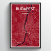 Budapest City Map Art Print - Point Two Design