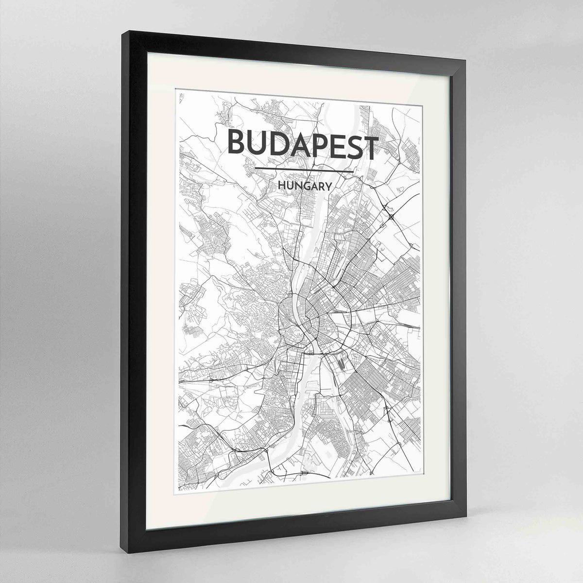 "Framed Budapest Map Art Print 24x36"" Contemporary Black frame Point Two Design Group"