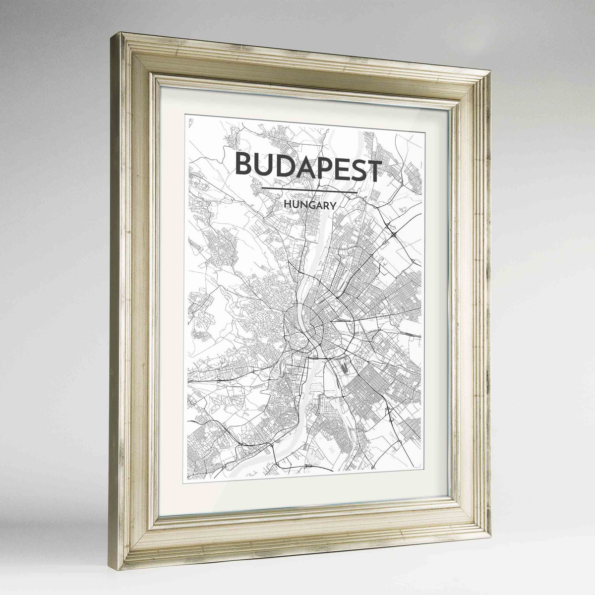 "Framed Budapest Map Art Print 24x36"" Champagne frame Point Two Design Group"