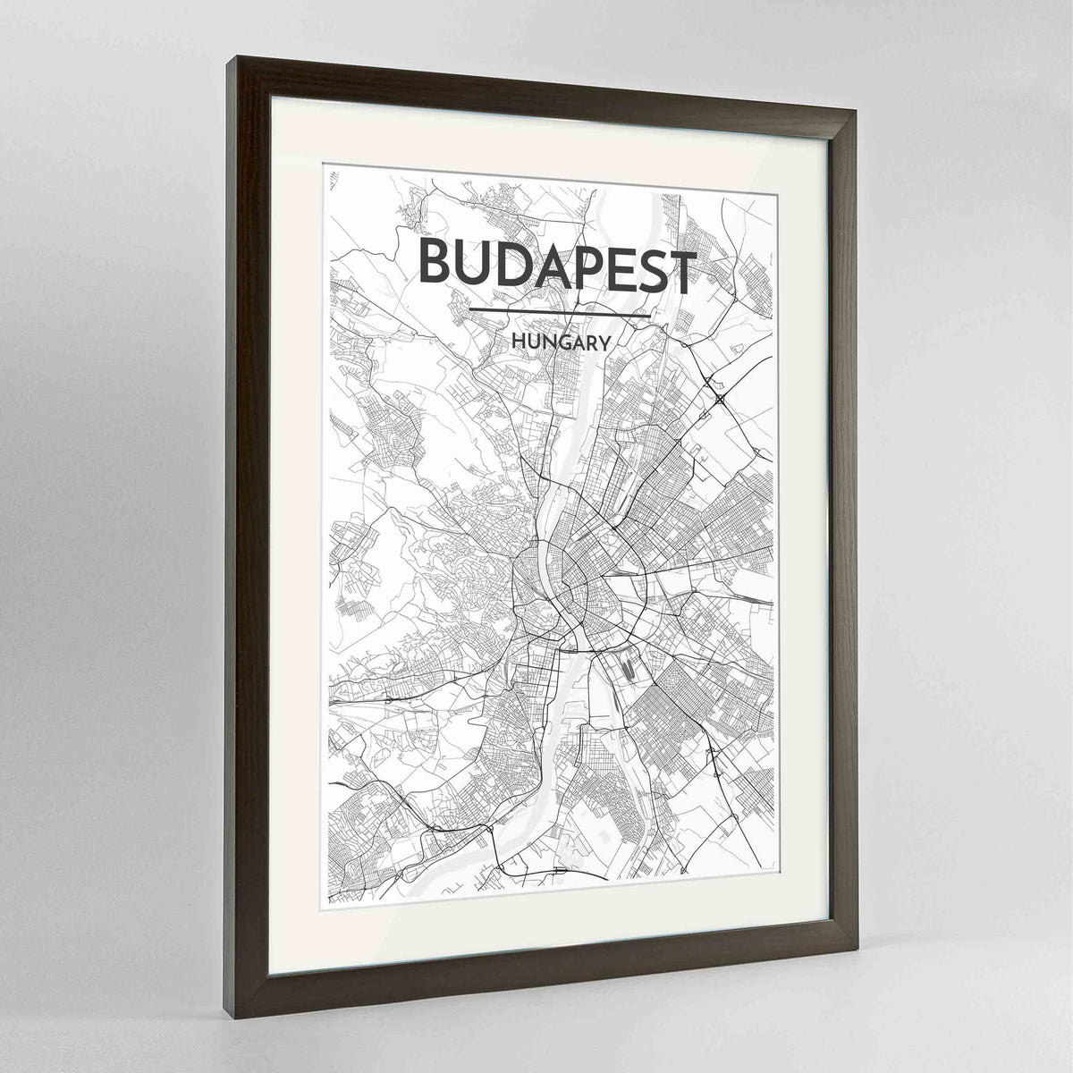 "Framed Budapest Map Art Print 24x36"" Contemporary Walnut frame Point Two Design Group"