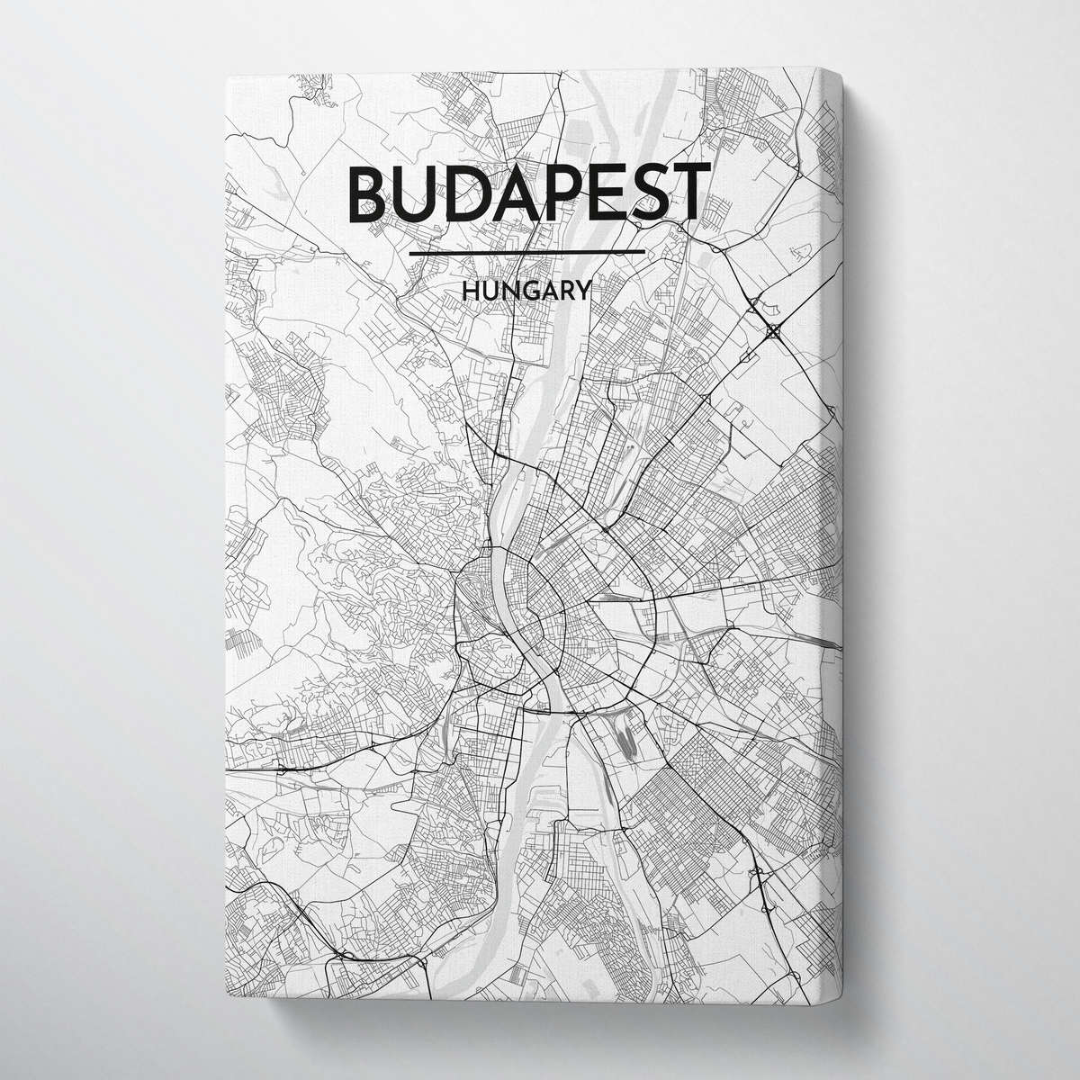 Budapest Map Art Print Map Canvas Wrap - Point Two Design