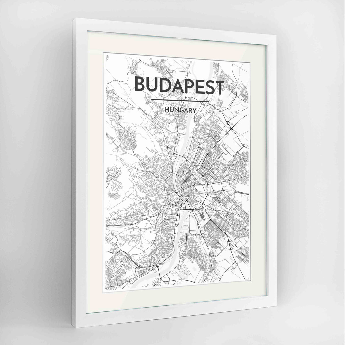 "Framed Budapest Map Art Print 24x36"" Contemporary White frame Point Two Design Group"