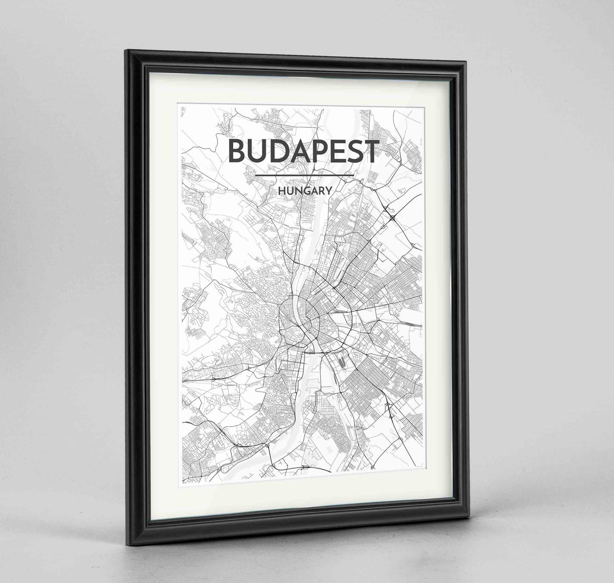 "Framed Budapest Map Art Print 24x36"" Traditional Black frame Point Two Design Group"